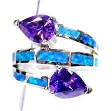 Silver 925 SF Size 10 Ring Blue Lab Fire Opal & 6*7mm Teardrop Amethyst