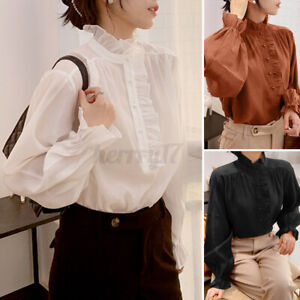 UK Ladies Ruffle Frill Victorian Shirt Work Party Satin Blouse Womens Formal Top