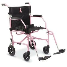 Medline Freedom 3 Breast Cancer PINK Transport Wheelchair, Just 14.8 LBS