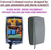 Universal 433,92MHz 2-kanal Funkempfänger, rolling&fixed code 12-24V DC, COM/N.O