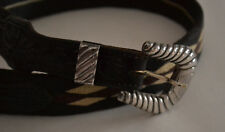 VINTAGE SUNSET TRAIL STERLING BUCKLE WITH LEATHER AND WOVEN JUTE BELT