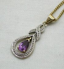 Pretty Two Colour 9ct Gold Amethyst And Diamond Pendant And Chain