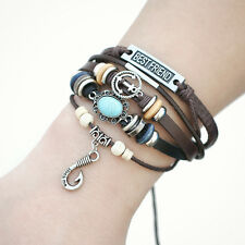 Vintage Unisex Multilayer Anchor Leather Bracelets Punk Wristband 61X400