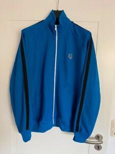 tolle original Fred Perry Herren Trainingsjacke Größe M -- blau + schwarz