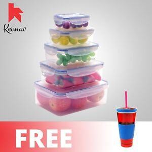 Keimavlock 10-Pc Airtight Food Storage with Snackeez 2 in 1 Cup (Red)