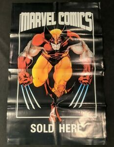 """WOLVERINE 'MARVEL COMICS SOLD HERE' 34"""" PROMO POSTER 1986"""