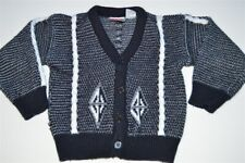 vintage 80s Windsor Classic Black White Cable Knit Cardigan Kids Youth Sweater 5