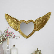 Gold angel wing framed wall mirror vintage shabby chic cherub home decor display