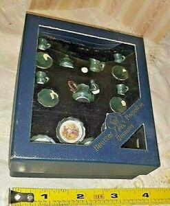 Reutter Miniature Dollhouse Limoges Style Green Lustre Tea Set & Plates w box