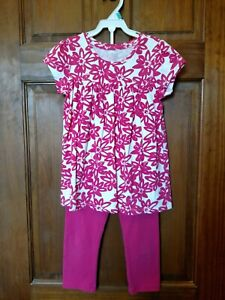 BABY GAP Girl's 2-Piece Pink Floral Tunic and Capri Leggings Set - Size 5