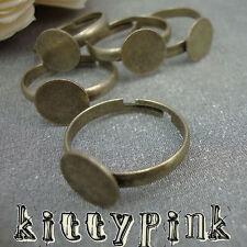 10 x Gold Plated Adjustable Ring Blanks 10mm Flat Pad Glue Jewellery J134