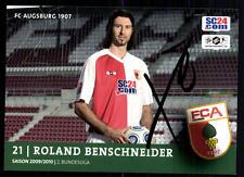 Roland benschneider AUTOGRAFO biglietto FC Augsburg 2009-10 ORIGINALE + a 92998