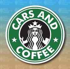 "Cars and Coffee Car Club Meet Show Classic Funny 5"" Custom Vinyl Decal Sticker"