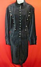 ~~NEWPORT NEWS Vintage Black Velvet Military Buttons Goth Steampunk Coat Sz 18W~