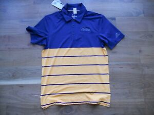 NWT adidas Ultimate 365 Golf Shirt Polo Blue with Gold FireRock Size Small