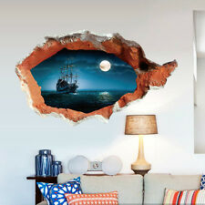 3D break wall Pirate Ship Ghost Navigation Wall Sticker Removable Decorative Art