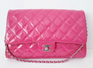 CHANEL CLASSIC FALP BAG PINK CLUTCH ON CHAIN NEW