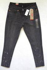 Levis 711 Skinny Altered Jeans Womens Size 10 Black Stretch Denim