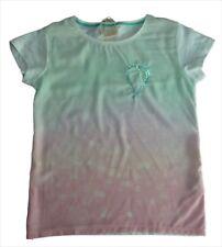 ZARA Girls PINK MINT Printed Sequin Heart Crepe Front T-Shirt Top 7-8y £9.99