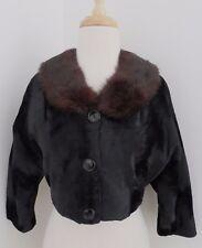 vtg Black Faux Fur cropped Jacket w real Fur collar M Dolman sleeves