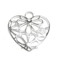 Sterling silver Flower HEART Pendant dangle Charm 28mm