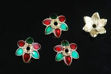 10Pcs 13mm Enamel Thailand Style Bead Caps Spacer Jewelery Craft Making Findings