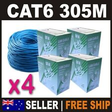 305m Cat 6 Cat6 Solid Blue Ethernet Network Home Cable Boxed Ship