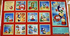 """Veggie Tales Fabric Panel """"Bob Lends A Helping Hand"""" Cotton Book Craft Quilting"""