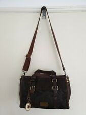 Fossil Womens Pony Skin Leather and Canvas Hand Shoulder Bag