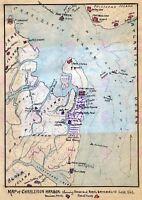 Map Antique USA Civil War Charleston Harbour Armies Replica Canvas Art Print