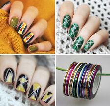 30Rolls Nail Art Striping Tape Line Nail Stickers DIY Kit UV Gel Tips Decoration