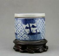 78MM Collect China Blue White Porcelain Pine Tree Old Man Incense Burner Censer