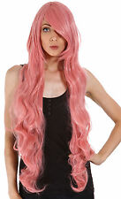 Long Wavy Pink Cosplay Curly Party X-mas Long Wig Vocaloid Full Hair Wigs