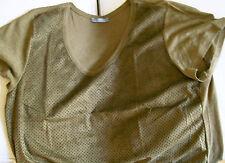 Zara W&B Mixed Fabric T Shirt dark khaki green cotton linen blend Top Size L vgc