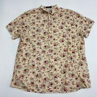 SSLR Button Up Shirt Men's Size 2XL Short Sleeve Tan Floral Print 100% Cotton