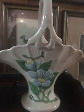 """vintage Hull pottery basket vase blue magnolia H-14 10 1/2"""" tall USA"""