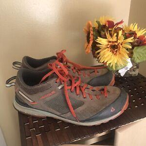 Vasque Men Grand Traverse Hiking Trail Leather Brown Orange Shoe 7320 11M Vibram