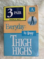 Leggs Everyday Thigh Highs 4 Pair Suntan Sheer Toe Size A Small