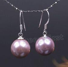 Sterling Silver 12mm Sea Shell Pearl hook Drop White Purple Earrings Gift Box C9