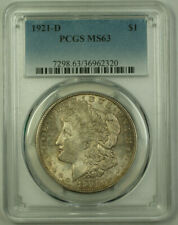 1921-D Morgan Silver Dollar $1 Coin PCGS MS-63 Toned (21)