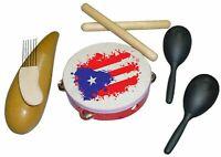 Kit Parrandero de Puerto Rico con Claves, Set de Guiro, Pandereta, y Maracas