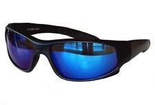 Sportbrille Sonnenbrille Black matt Blau verspiegelt Fahrradbrille Sportlich M1