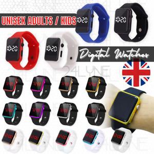 LED Digital Screen Wrist Sport Watch For Men Women Unisex Boys Girls Kids UK