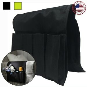 Sofa Arm Rest Organizer TV Remote Control Holder Chair Beside Couch Bag 4 Ports