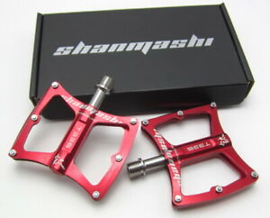 Titanium Axle MTB Mountain Road FR Bike 3 Bearings Pedals flat Pedal 225g Red