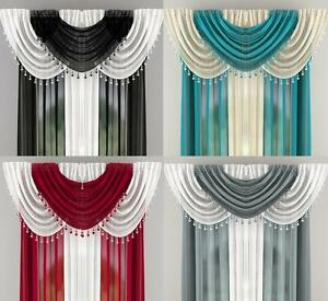 MILLIE SHEER VOILE BEADED 6 PIECE SWAG SET WITH HEART BEADS - Many Colours