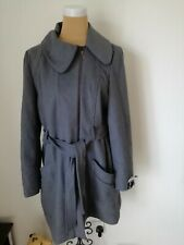 GEORGE Grey Wool Mix Coat with Zipped Sleeves and Tie Belt Size 18 NEW