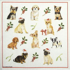 4x Paper Napkins for Decoupage craft party -  Christmas Dogs
