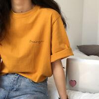 Women Korean Tshirts Solid T Shirt Loose Casual Tops Short Sleeve Print Tee SJAU