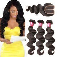 "8""-30"" 8A Brazilian Body Wave Virgin Human Hair 3Bundles with 4x4 Lace Closure"